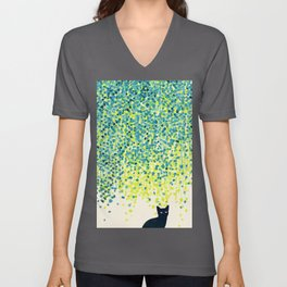 Cat in the garden under willow tree Unisex V-Ausschnitt