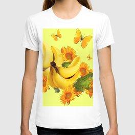 GREEN FROGS BANANAS SUNFLOWERS BUTTERFLY DESIGN T-shirt