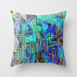 Neon Blue Houses Throw Pillow