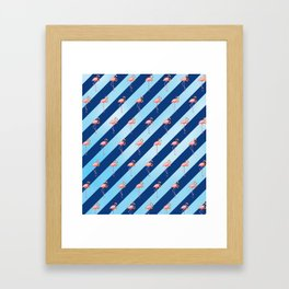 Stripey Flamingos Framed Art Print