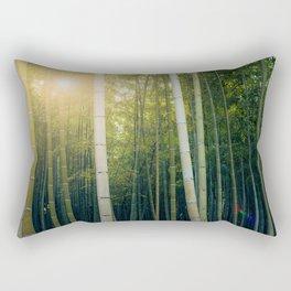 Sun shining through Arashiyama Bamboo Forest in Kyoto, Japan Rectangular Pillow