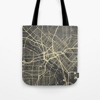 dallas Tote Bags featuring Dallas map by Map Map Maps