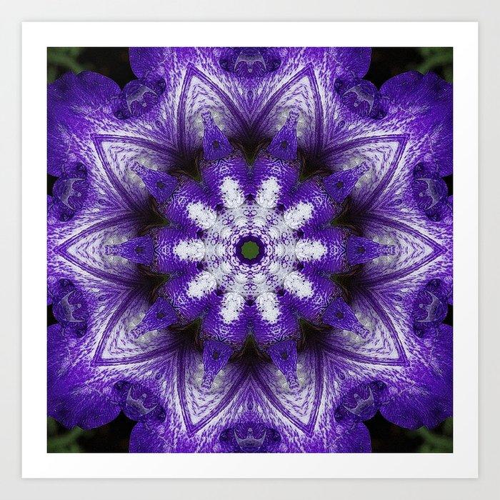 Glowing Violet Star - Iris Stepping Out Kaleidoscope Art Print