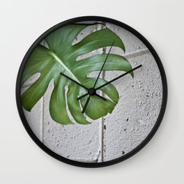 brick monstera Wall Clock