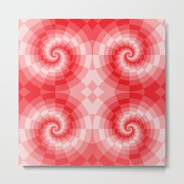 Red-white spirals made from blocks Metal Print
