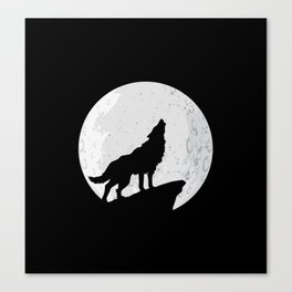 Wolf Howling To the Moon Canvas Print