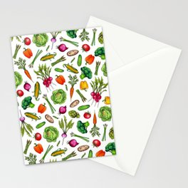 Vegetable Garden - Summer Pattern With Colorful Veggies Stationery Cards