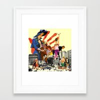 dick Framed Art Prints featuring private dick by TRASH RIOT