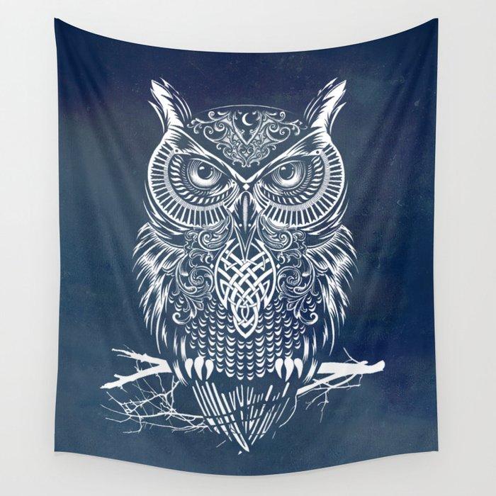 Warrior Owl Night Wall Tapestry