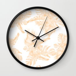 Island Vacation Hibiscus Palm Coral Apricot Orange Wall Clock