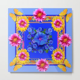 BUTTERFLIES FUCHSIA DAHLIA SUNFLOWER MORNING GLORY BLUE  FLORAL Metal Print