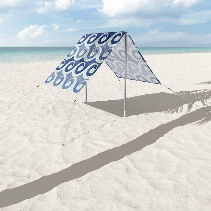 Retro Tropical Beach Waves - Indigo Blue Woodblock Sun Shade