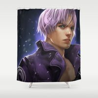 dragonball Shower Curtains featuring Trunks by KlsteeleArt