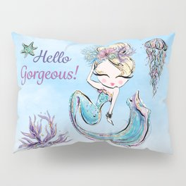 Glamorous Mermaid with Jellyfish, Shell, and Starfish. Pillow Sham