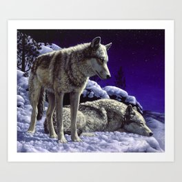 Night Watch Wolves in Snow Art Print