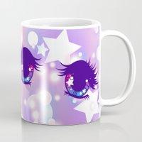 pastel goth Mugs featuring Fairy Kei Pastel Goth Dreamy Shoujo Manga Eyes by KawaiiMachine