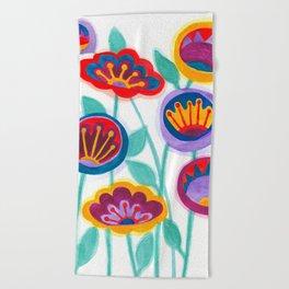 raw flower garden Beach Towel