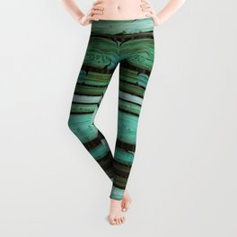 Green Slats Leggings