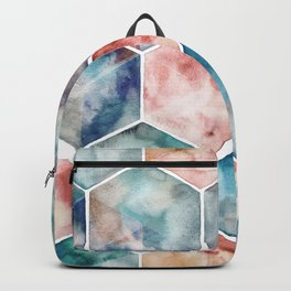 Earth and Sky Hexagon Watercolor Backpack