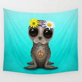 Cute Baby Seal Hippie Wall Tapestry