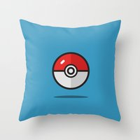 pokeball Throw Pillows featuring Pokeball  by ZachUrichDesign
