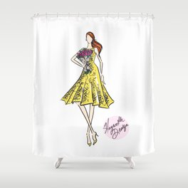 "Hayworth Design Fashion Illustration ""Fashionable Girl in Yellow Dress with Flowers"" Shower Curtain"