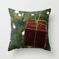 gift card Throw Pillows featuring Christmas Gift by Selene D