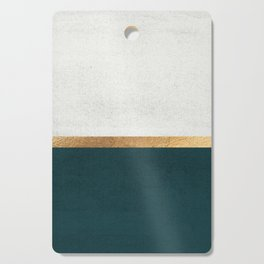 Deep Green, Gold and White Color Block Cutting Board