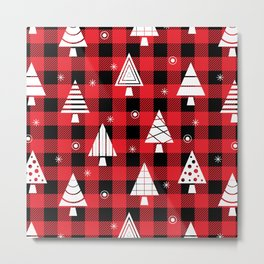 Holiday Christmas Trees (red buffalo plaid) Metal Print