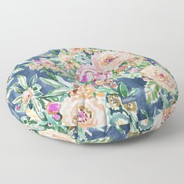 Navy MAUI MINDSET Colorful Tropical Floral Floor Pillow