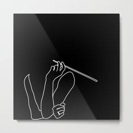 Minimal line drawing Audrey Hepburn smoking - breakfast at Tiffani Metal Print