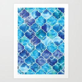 Moroccan Tile Pattern in Blue Watercolor Art Print