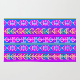 Colorful Mexican Aztec geometric pattern Rug