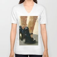 heels V-neck T-shirts featuring Heels by Tom Britton