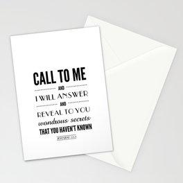Wondrous Secrets. Jeremiah 33:3.  Stationery Cards