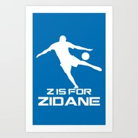 zidane Art Prints featuring Zidane Blue by Sport_Designs