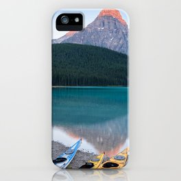 Mountain Kayaks Sunrise Banff Canada Landscape Reflection iPhone Case