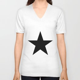 Single black star on white Unisex V-Neck
