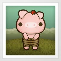 Jerome the Distracted Pig Art Print