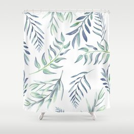 Floating Leaves Blue #society6 #buyart Shower Curtain
