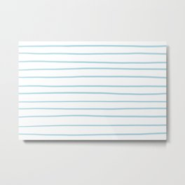 VA Healing Aire Blue - Angelic Blue - Soothing Blue Hand Drawn Horizontal Lines on White Metal Print