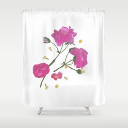 pink & yellow flowers Shower Curtain