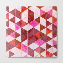 Marble Triangle Tile Pattern in Reds Metal Print