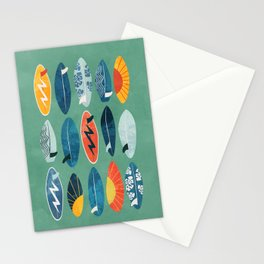Surfboard green  Stationery Cards