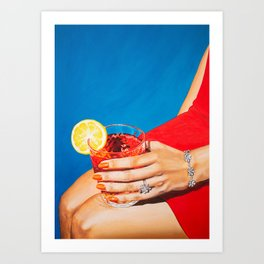 Sitting Pretty / Girly Cocktail Painting Art Print