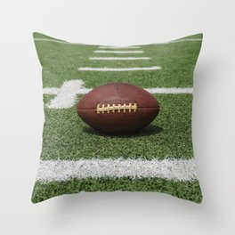 American Football Court with ball on Gras Throw Pillow