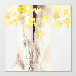 Yellow and Turquoise Watercolor Tree Canvas Print