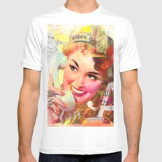 Wait a minute, I'll be right back White Mens Fitted Tee MEDIUM