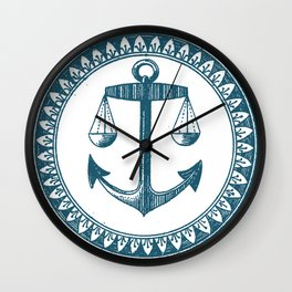Anchor & Scales Wall Clock