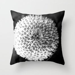 Close up abstract of a round, white flower Throw Pillow